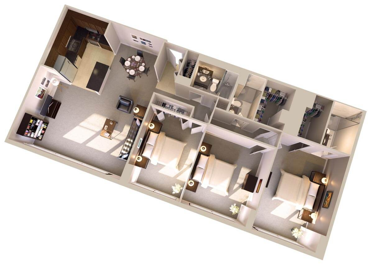 Three Bedroom, Three Bathroom Apartments in Bethesda Floor Plan
