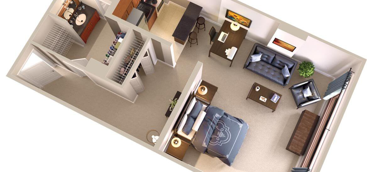 Furnished Corporate Apartments Floor Plan - Short Term Leases Available