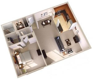Topaz House One Bedroom Apartments in Bethesda, MD Floor Plan