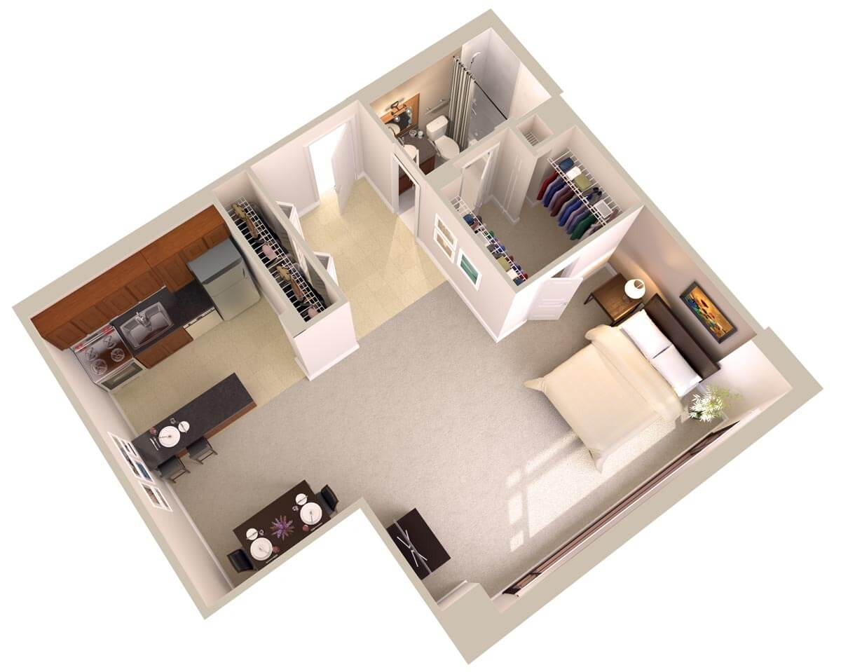 Large studio apartments downtown bethesda md topaz house for Floor plan for studio apartment