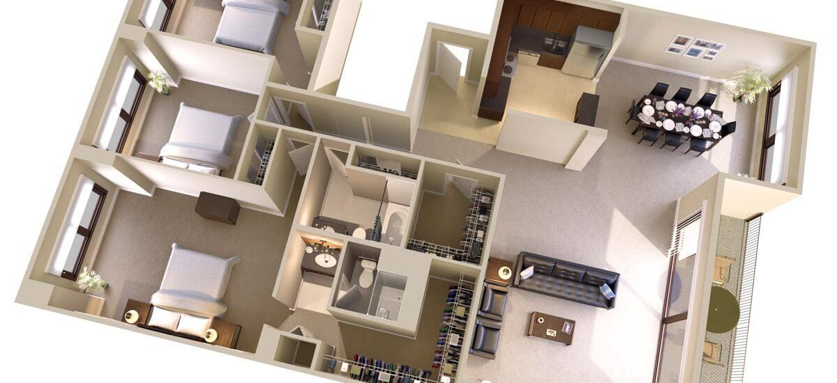 Three Bedroom, Two Bath Apartments Floor Plan - Topaz House Bethesda, MD