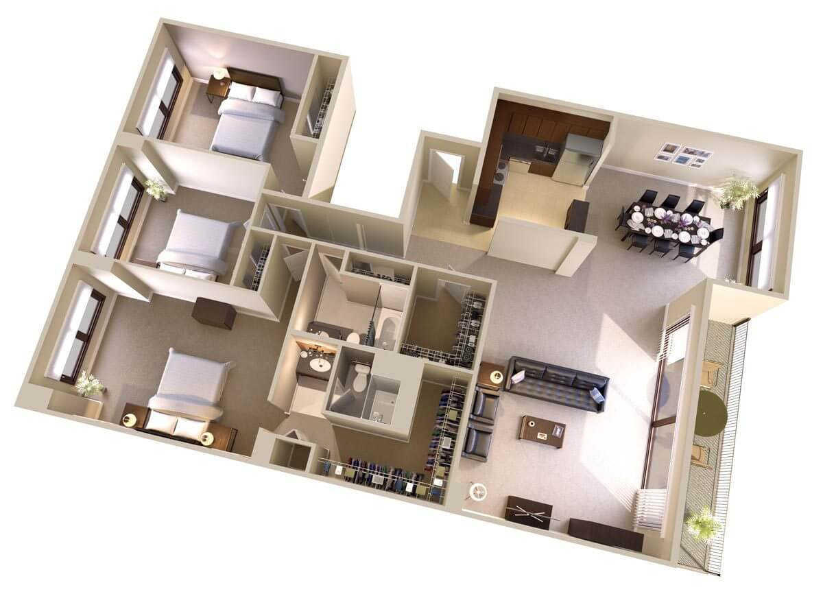Three Bedroom, Two Bath Apartments Floor Plan   Topaz House Bethesda, MD
