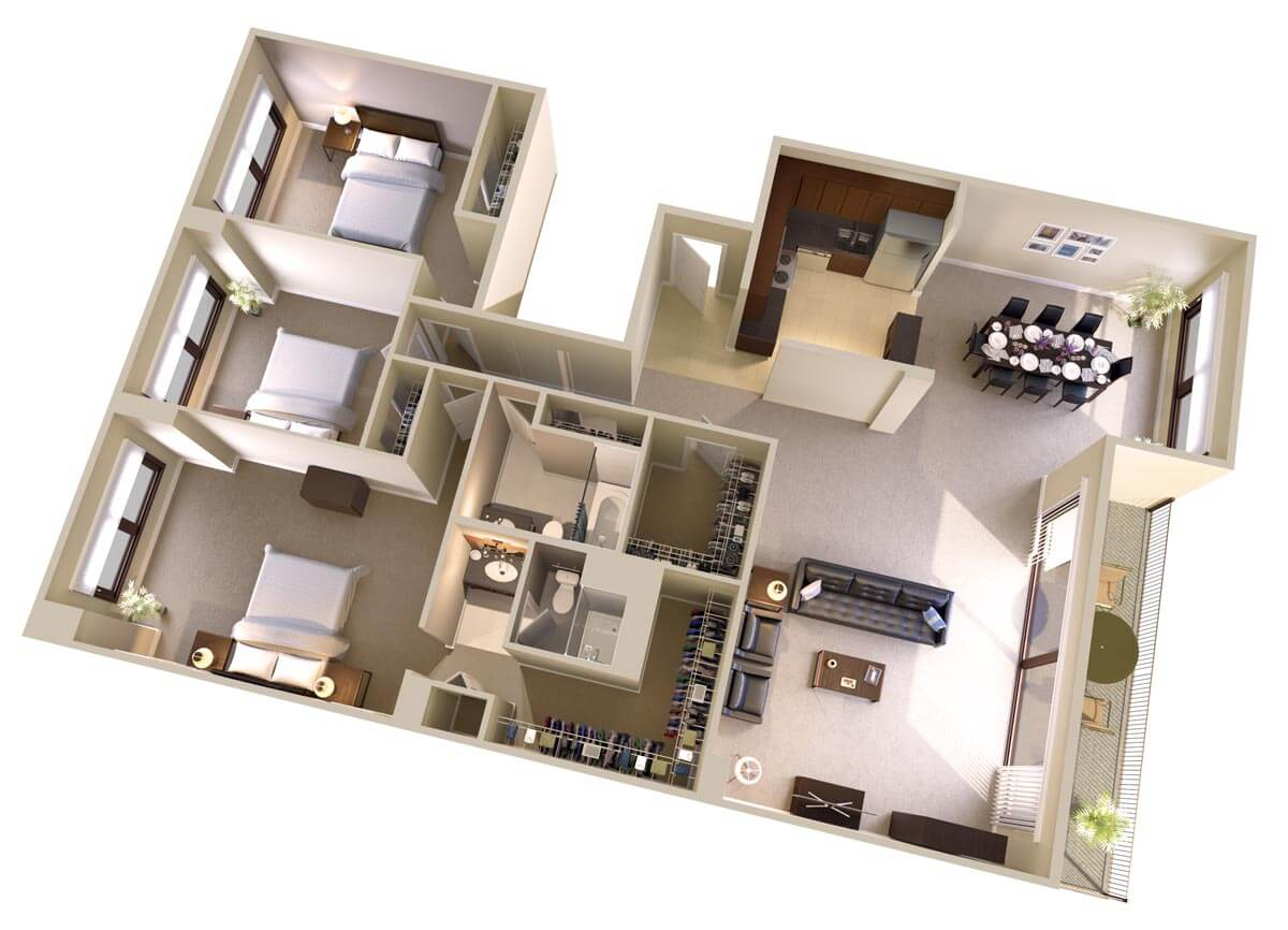 Three bedroom two bath apartments in bethesda md topaz for Apartments plans photos