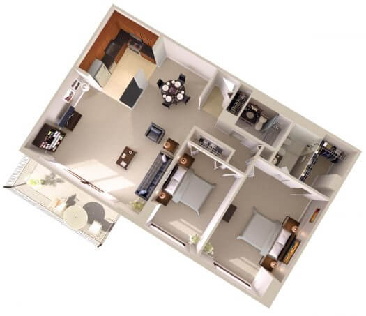 Topaz House Large Two Bedroom Apartments Floor Plan