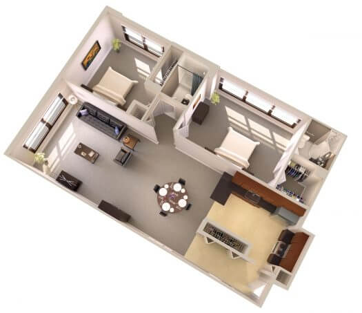 Topaz House Standard Two Bedroom Apartments Floor Plan