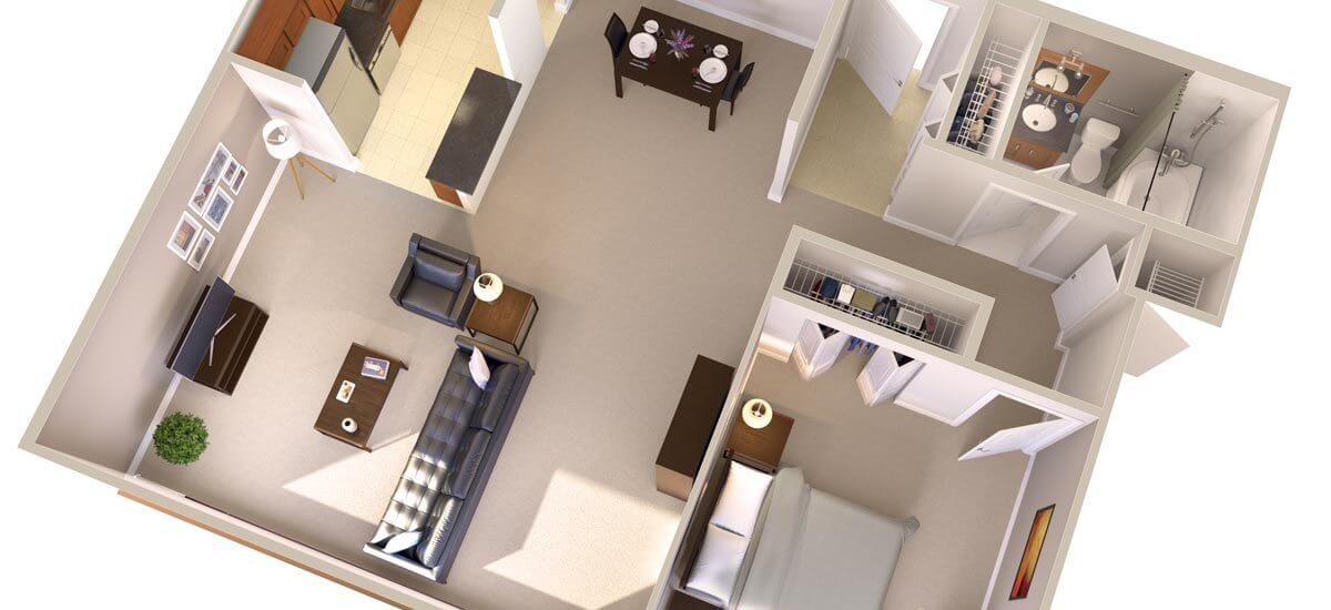 Topaz House One Bedroom Apartments in Bethesda, MD (Junior) Floor Plan