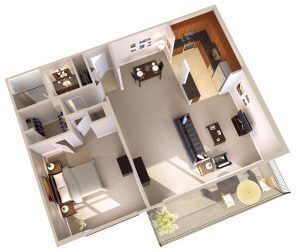 Topaz House Apartments in Bethesda - One Bedroom Apartments with Balcony Floor Plan